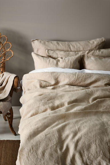 Washed linen duvet cover set - Linen beige - Home All | H&M CN 1