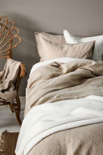 Washed linen duvet cover set - Linen beige - Home All | H&M CA 2