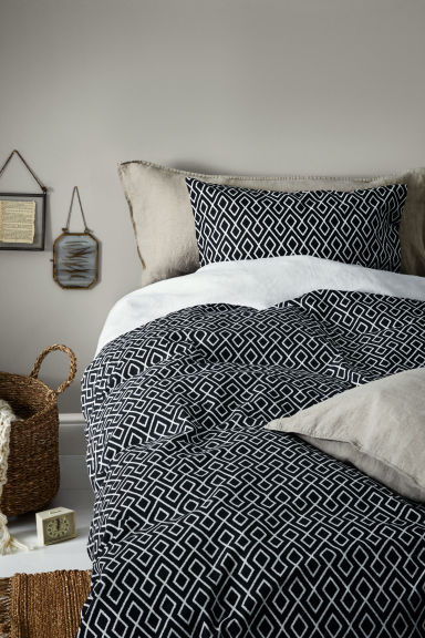 Patterned duvet cover set - Anthracite grey - Home All | H&M CN