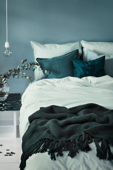 Washed cotton duvet cover set - Mint green - Home All | H&M CN