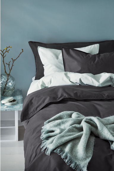 Washed cotton duvet cover set - Anthracite grey - Home All | H&M CN 1