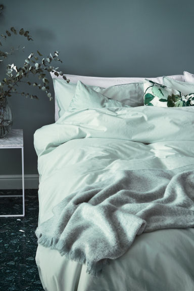 Washed cotton duvet cover set - Dusky green - Home All | H&M 1