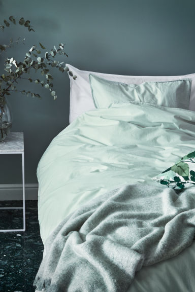 Washed cotton duvet cover set - Dusky green - Home All | H&M CA 1