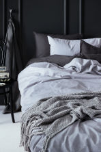 Cotton chambray duvet set - Light grey - Home All | H&M CN 1