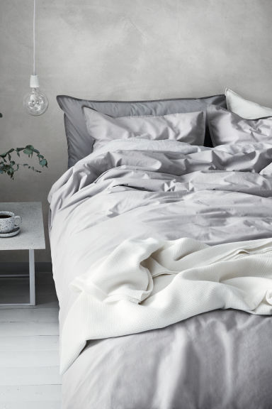Washed cotton duvet cover set - Light grey -  | H&M GB