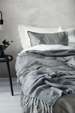 Washed linen duvet cover set - Grey - Home All | H&M CN 1
