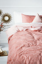 Patterned duvet cover set - Light coral - Home All | H&M CN 1