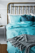 Patterned duvet cover set - Dark turquoise/White - Home All | H&M CN 1