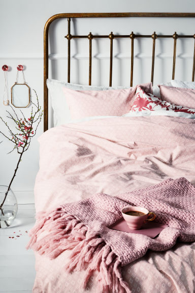 Patterned duvet cover set - Light pink/White - Home All | H&M CN 1