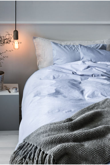 Cotton chambray duvet set - Light blue - Home All | H&M CN 1