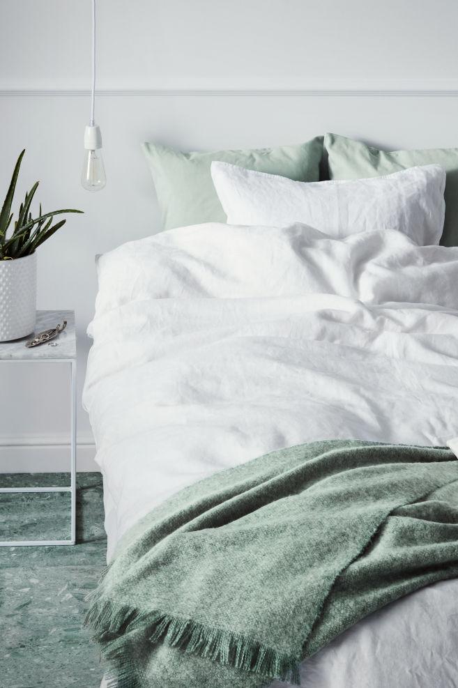 Funda nórdica en lino lavado - Blanco -   H&M ES