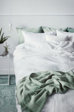 Washed linen duvet cover set - White - Home All | H&M CN 1