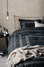 Cotton percale duvet cover set - Anthracite grey/Patterned -  | H&M CN 1