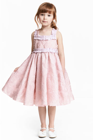 Embroidered tulle dress - Light pink -  | H&M 1
