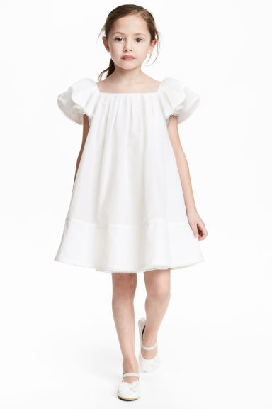 Silk-blend dress - White - Kids | H&M CN 1