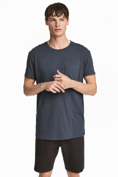 Short-sleeved sports top - Dark grey-blue - Men | H&M 1