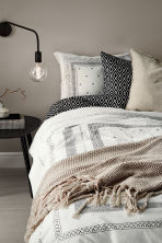 Cotton percale duvet cover set - White/Patterned -  | H&M CN 1