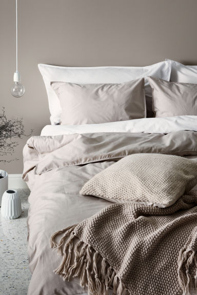 Cotton duvet cover set - Light beige - Home All | H&M CN 1