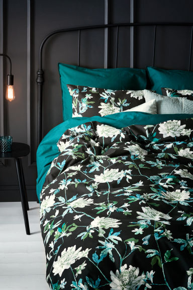Set copripiumino a fiori - Nero/verde - HOME | H&M IT 1