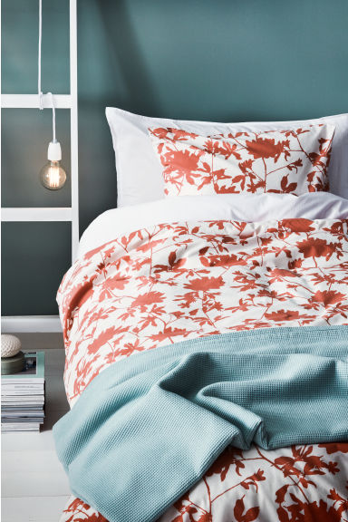 Floral-print duvet cover set - White/Coral - Home All | H&M CN 1