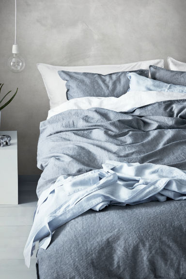 Linen-blend duvet cover set - Dark blue/Narrow striped - Home All | H&M CN 1