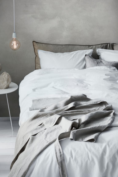Washed cotton duvet cover set - White - Home All | H&M CN 1