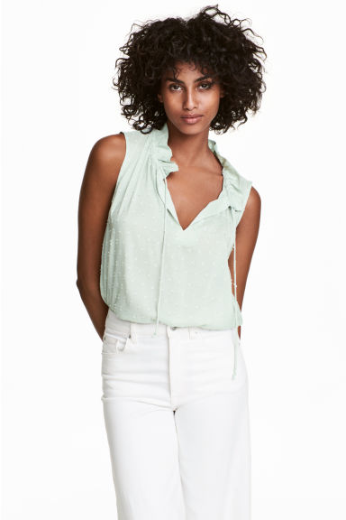 Sleeveless top - Mint green - Ladies | H&M CN