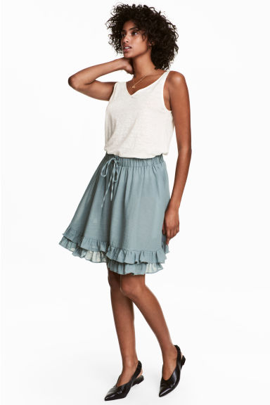 Short cotton skirt - Dusky green - Ladies | H&M 1