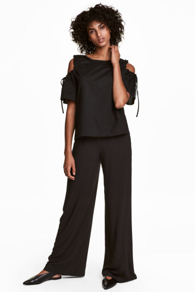 Wide pull-on trousers - Black - Ladies | H&M CN 1