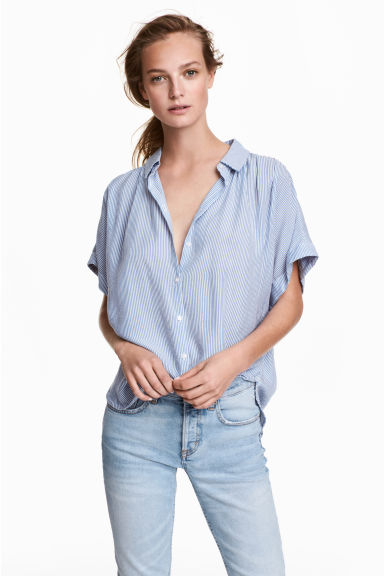 Wide blouse - Blue/White/Striped -  | H&M CN 1