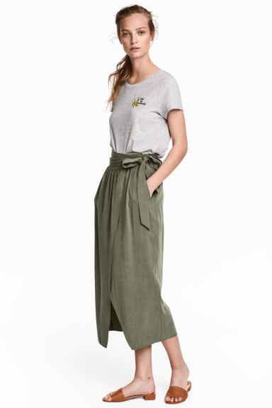 Lyocell wrapover skirt - Khaki green -  | H&M