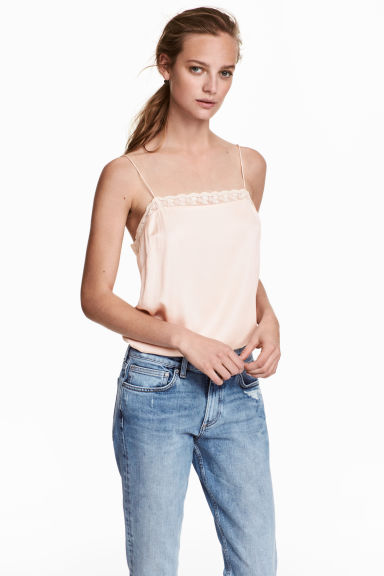 Strappy top with lace - Powder pink - Ladies | H&M CN 1