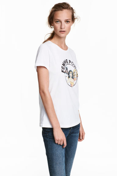 Printed T-shirt - White - Ladies | H&M 1