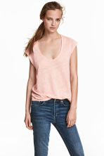 Linen jersey top - Powder pink - Ladies | H&M 1