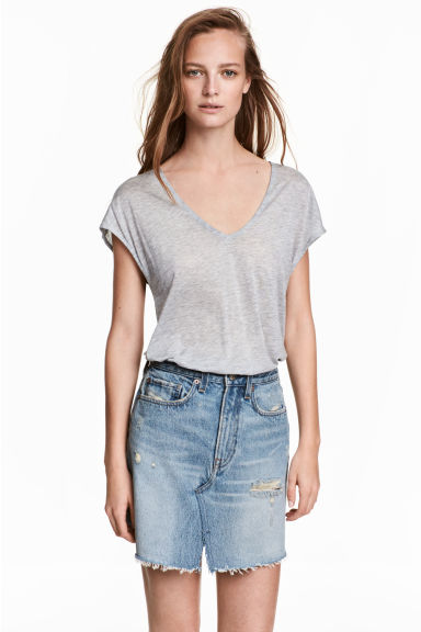 Lyocell V-neck top - Grey marl - Ladies | H&M CA 1