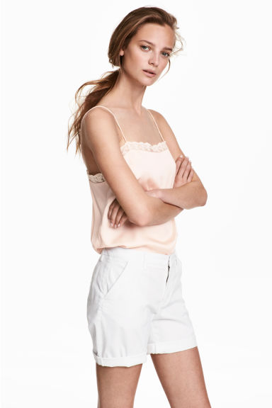 棉質短褲 - White - Ladies | H&M 1