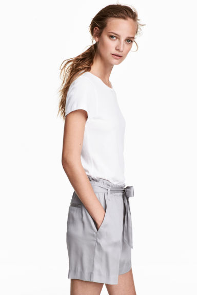 綁帶短褲 - Light grey - Ladies | H&M 1