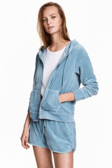 Velour hooded jacket - Grey-blue - Ladies | H&M CN 1