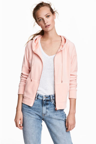 Velour hooded jacket - Powder pink - Ladies | H&M 1