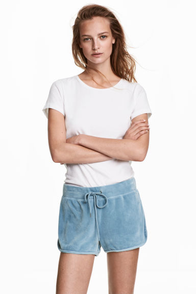 Velour shorts - Grey-blue - Ladies | H&M CA 1