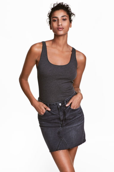Jersey vest top - Dark grey marl - Ladies | H&M GB