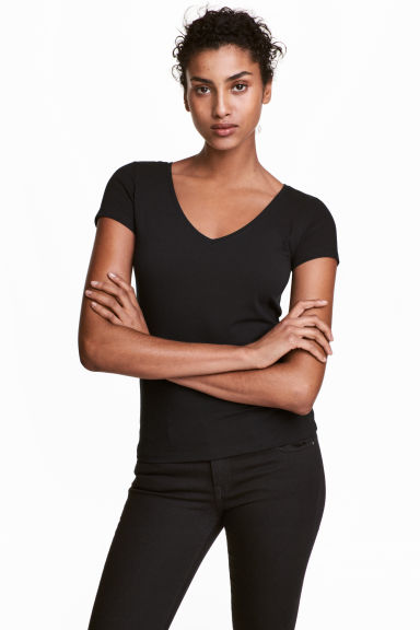 T-shirt in jersey scollo a V - Nero - DONNA | H&M IT 1