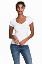 V-neck jersey top - White - Ladies | H&M CA 1
