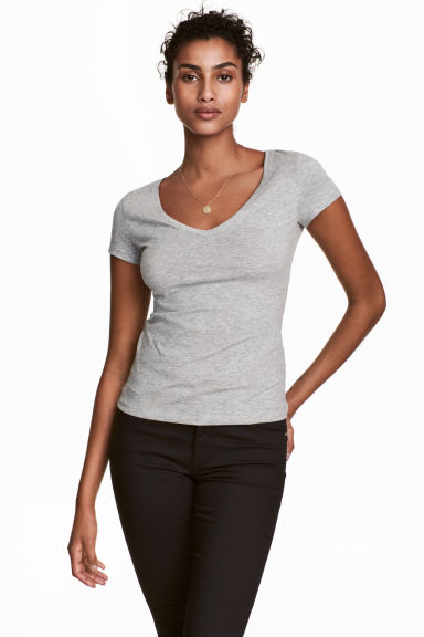 V-neck jersey top - Grey marl - Ladies | H&M CA