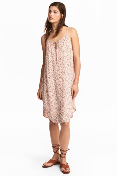 Slip Dress - Powder pink/Floral -  | H&M CN 1
