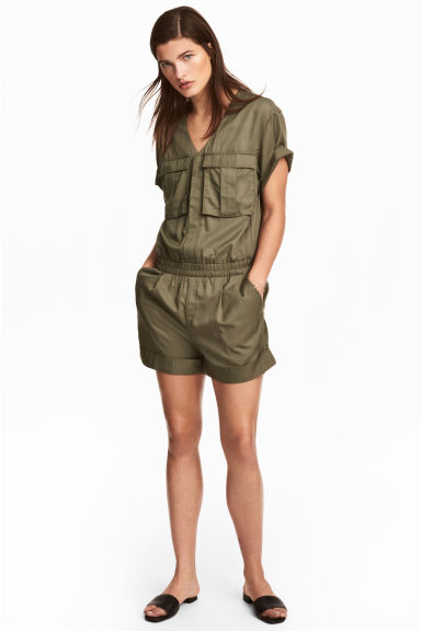 Lyocell-blend playsuit - Khaki green - Ladies | H&M 1