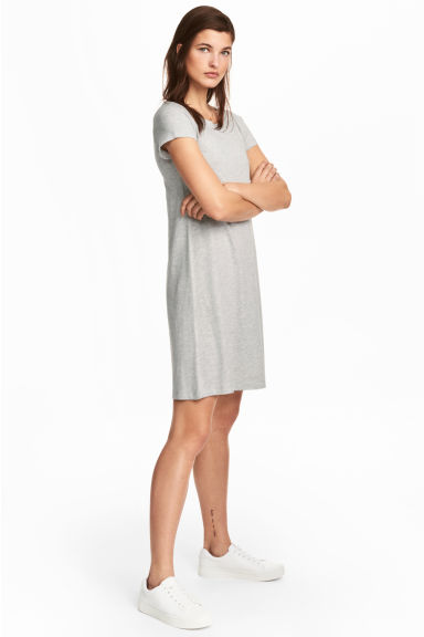 Jersey dress - Grey marl - Ladies | H&M CA 1