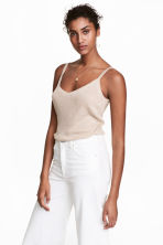Fine-knit strappy top - Light beige marl - Ladies | H&M 1
