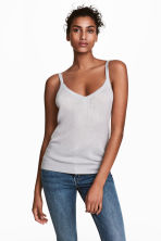 Fine-knit strappy top - Light grey - Ladies | H&M GB 1