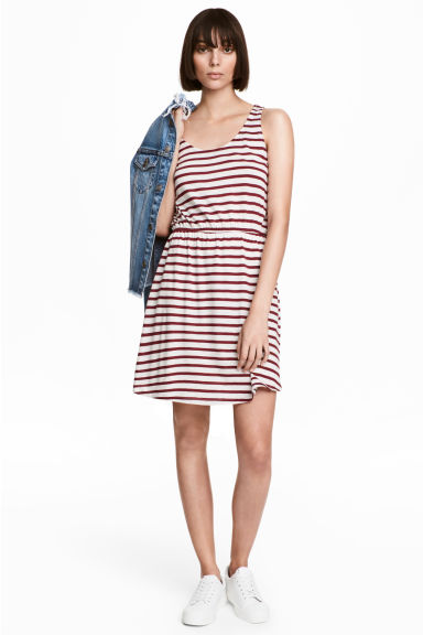 Sleeveless jersey dress - White/Red striped - Ladies | H&M CN 1